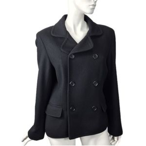 Ralph Lauren Black Peacoat Jacket Sz large Women